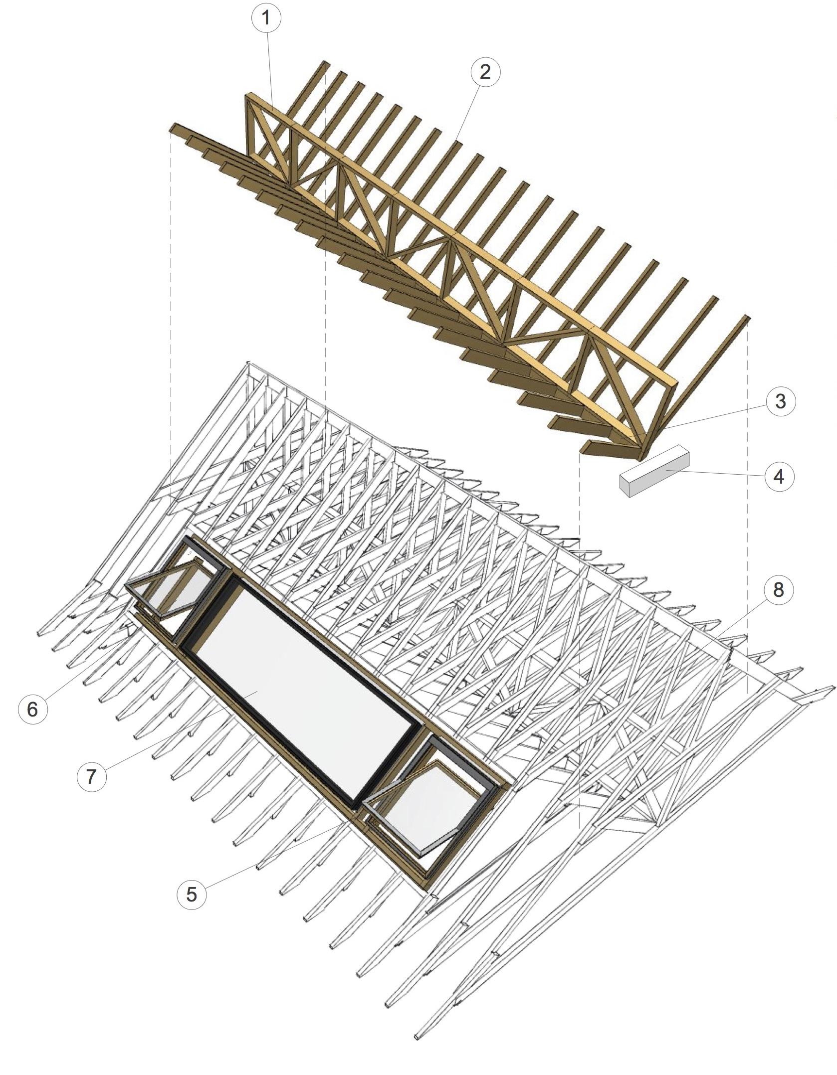 roof truss 3d 2